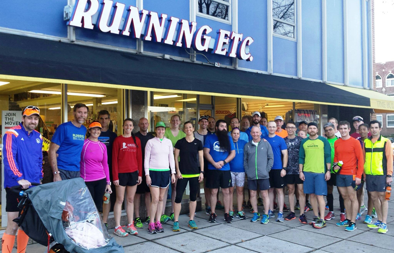 Large Group of Runners in front of store in Ghent